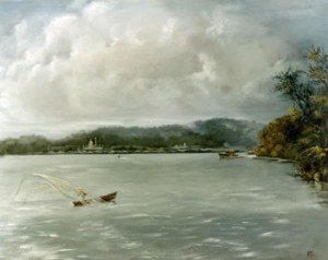 Fishing before The Mosque, Brunei - Brunei in the Eighties by Mai Griffin