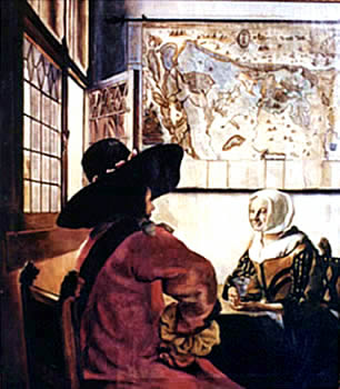 Officer and Laughing Girl after Vermeer - by Mai Griffin