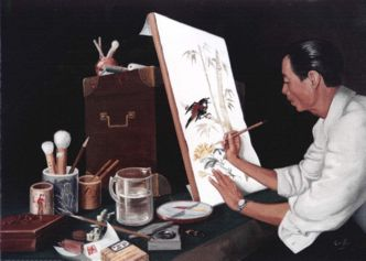 Oriental Artist - a watercolour being painted - captured in Oil by Mai Griffin