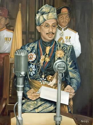 The Late Sultan Omar Ali Saifuddin (c1959), Brunei - Official Portrait by Mai Griffin