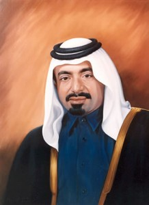 Official Portrait of the The Late Sheikh Khalifa bin Hamad Al Thani of Qatar - by Mai Griffin
