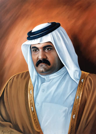 Official Portrait of Sheikh Hamad bin Khalifa of Qatar by Mai Griffin
