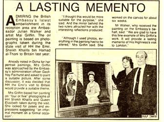 A Lasting Memento - Gulf Times - Ambassador Julian Walker and Artist Mai Griffin