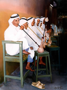 Smokers in the Soukh - Qatar in the Eighties by Mai Griffin