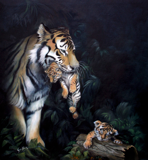 Tiger and Cubs by Mai Griffin