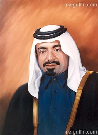 Official Portrait of the The Late Sheikh Khalifa bin Hamad Al Thani of Qatar - by Mai Griffin